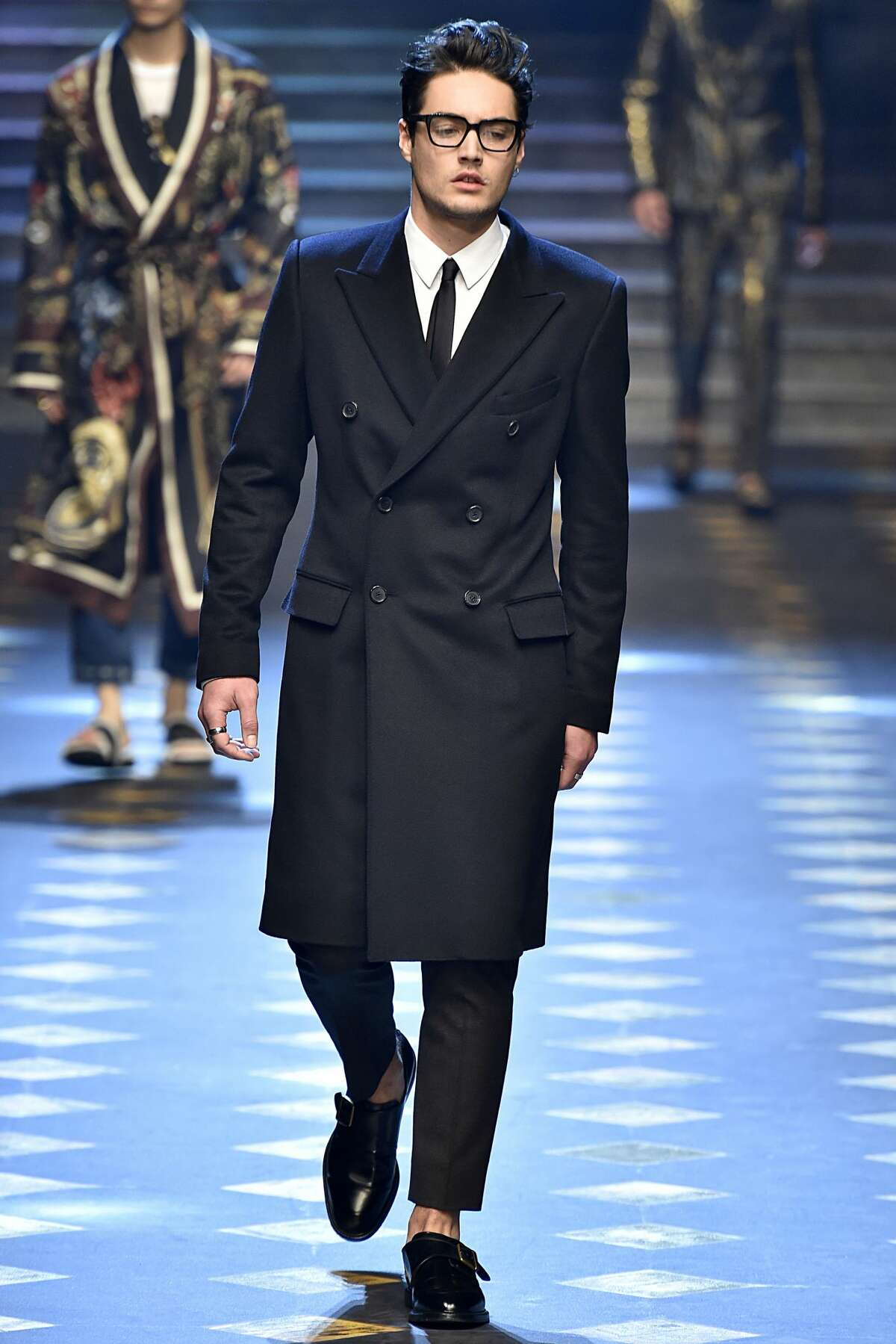 Levi Dylan walks the runway at the Dolce & Gabbana show during Milan Men's Fashion Week Fall/Winter 2017/18 on January 14, 2017 in Milan, Italy.