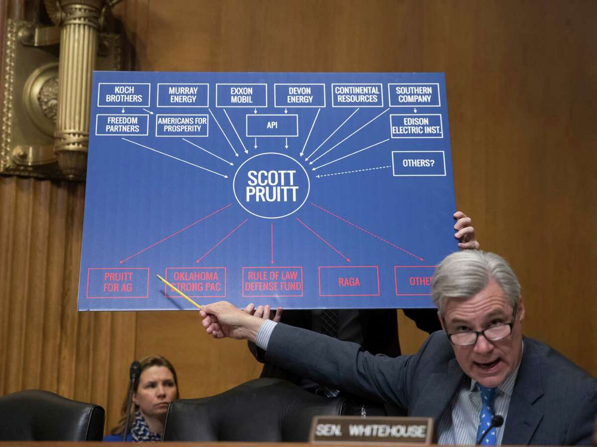Senate Environment and Public Works Committee member Sen. Sheldon Whitehouse, D-R.I., points to a chart as he questions Environmental Protection Agency Administrator-designate, Oklahoma Attorney General Scott Pruitt, on Capitol Hill in Washington, Wednesday, Jan. 18, 2017, during Pruitt's confirmation hearing before the committee.