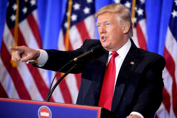 President-Elect Donald Trump holds his first press conference since the 2016 election on January 12, 2017 in New York, NY. (Starmax/Newscom/Zuma Press/TNS)
