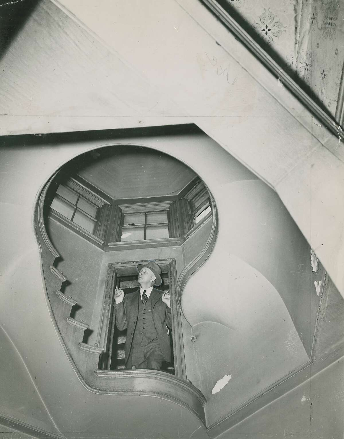 September 17, 1951: Stairway in the Octagon House (aka the McElroy House) . Located at 2548 Gough Street, between Union and Green Streets in San Francisco's Cow Hollow. It was stated that every November 24th, a ghost could be heard falling down the steps to the first landing.