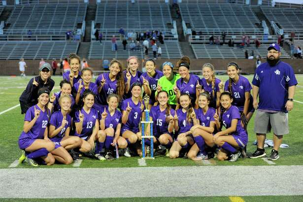 The Ridge Point Panthers celebrate their 3-2 victory over the Seven Lakes Spartans in the Spartan Bracket Championship Game of the Typhoon Texas/I-10 Shootout on Saturday January 14, 2017 at Rhodes Stadium, Katy, TX.