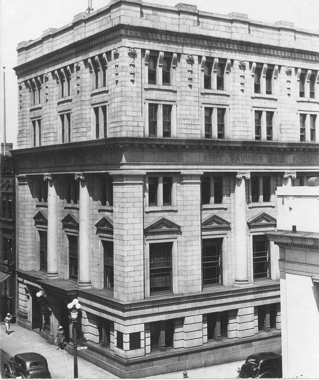 PRINT ARCHIVE: The City Savings Bank building in Bridgeport, Conn. Aug. 16, 1939.