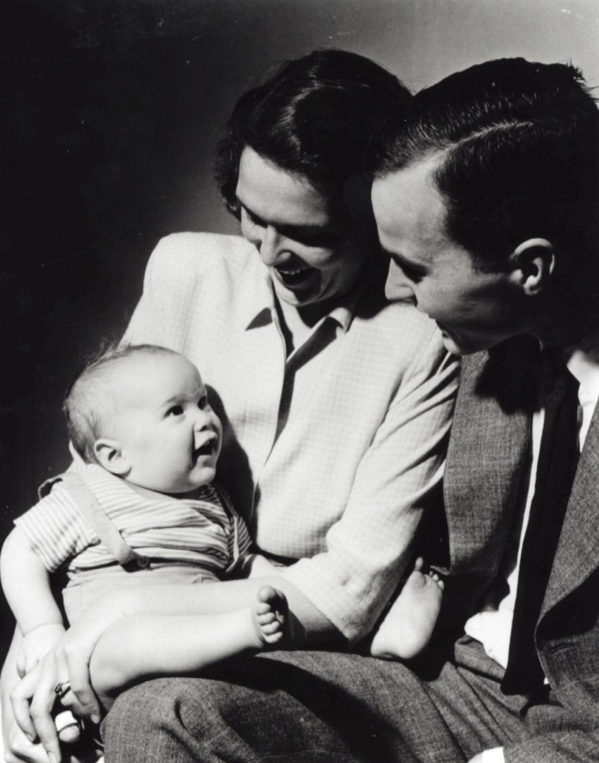Barbara and George Bush hold their son and future president, George W. Bush, in 1947. Fact: George W. Bush is the eldest of six children.