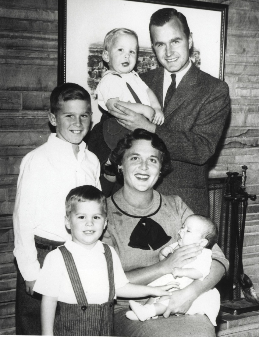 Barbara and George Bush with their children (L-R) Dorothy, Neil, Marvin, Jeb and George. Fact: In 1953, daughter Pauline Robinson Bush passed away at age 3 of leukemia. Their deceased daughter was named after Barbara's mother who passed away in a fatal car accident in 1949.