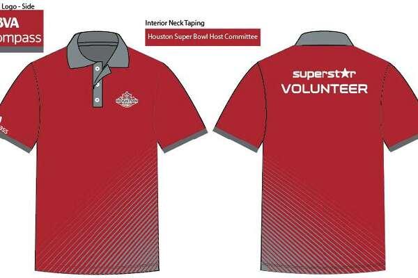 The Houston Super Bowl Host Committee volunteer uniforms for the 10,000 plus volunteers