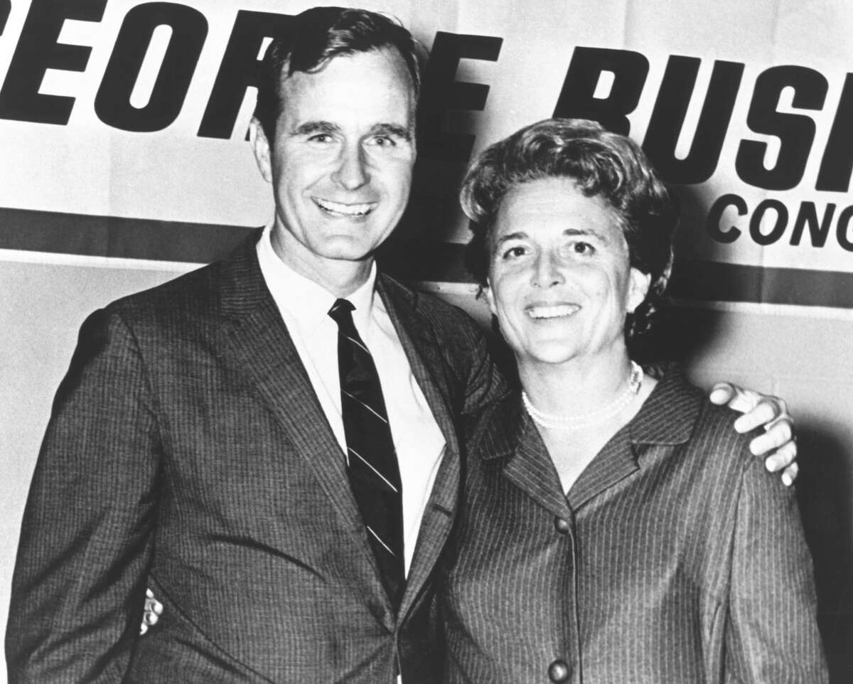 George Herbert Walker Bush poses with his wife Barbara during his campaign for Congress in the 1960's. See photos from the couple's early life...