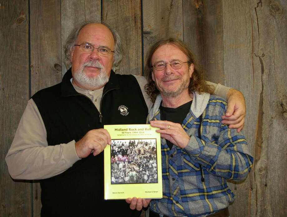 """MusiciansMike O'Brienof Midland andSteve Harnickof Sanford met in the 60s. A few years ago, their appreciation for local music history led them to start writing a book, """"Midland Rock and Roll: 50 years, 1964-2014."""""""