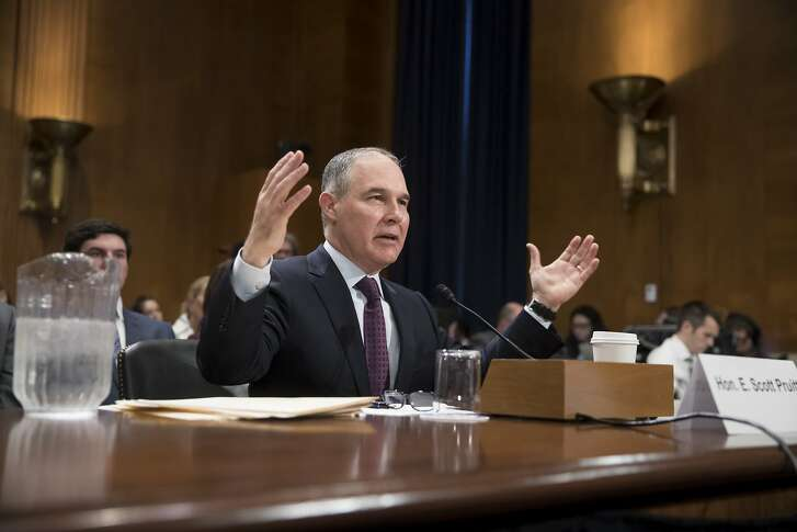 Environmental Protection Agency Administrator-designate, Oklahoma Attorney General Scott Pruitt, testifies on Capitol Hill in Washington, Wednesday, Jan. 18, 2017, at his confirmation hearing before the Senate Environment and Public Works Committee. (AP Photo/J. Scott Applewhite)