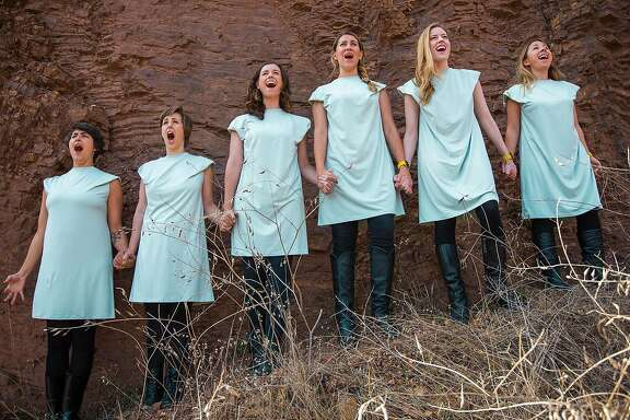 "From left:�Sarah Wright-Schreiberg, Jess Mele, Meredith Terry, Rachel Rockwood, Leah Shesky and Kate Jones in�Chardonnay's ""The Revolution Will Not Be Harmonized."""