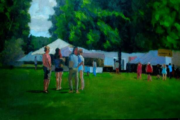 An exhibit of paintings by Richard Stalter of Gaylordsville is on view at New Milford Public Library on Main Street through Feb. 4. The display may be seen during regular library hours. Above is Stalters New Milford Fair Days. For more information, call 860-355-1191.