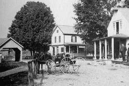 """A view of Gaylordsville's village center circa 1900, with the public scales at the left, Disbrow's store in the center and Barlow's store to the right. If you have a """"Way Back When"""" photo to share, contact Deborah Rose at drose@newstimes.com or 860-355-7324."""
