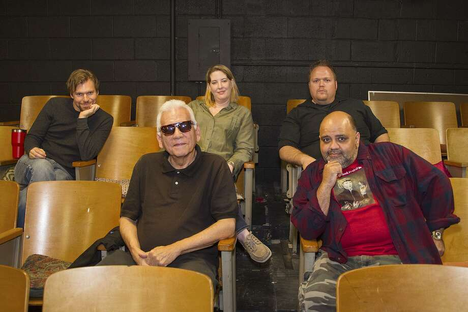 Overtime Theater playwrights Michael Burger (from left), Gregg Barrios, Emily Fitzgerald, Scott McDowell and William Razavi. Photo: Alma E. Hernandez /Alma E. Hernandez / For The San Antonio Express News