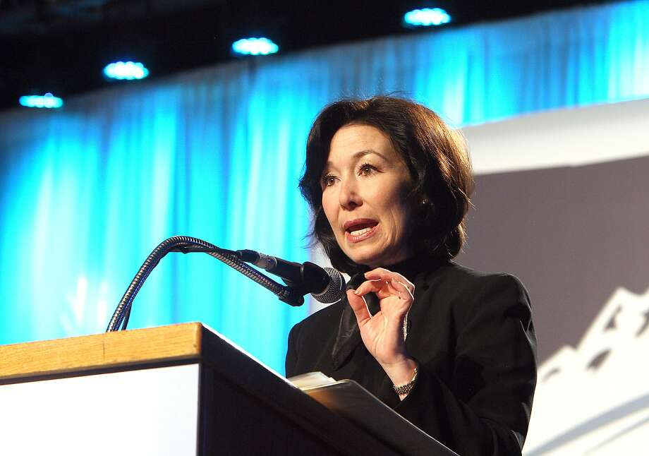 Oracle CFO Safra Catz, talks about the company's Montana operations in Bozeman during her keynote address during the final day of the Montana Economic Development Summit held on the Montana Tech campus Tuesday morning, Sept. 17, 2013, in Butte, Mont. (AP Photo/The Montana Standard, Walter Hinick) Photo: Walter Hinick, Associated Press