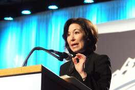 Oracle CFO Safra Catz, talks about the company's Montana operations in Bozeman during her keynote address during the final day of the Montana Economic Development Summit held on the Montana Tech campus Tuesday morning, Sept. 17, 2013, in Butte, Mont. (AP Photo/The Montana Standard, Walter Hinick)