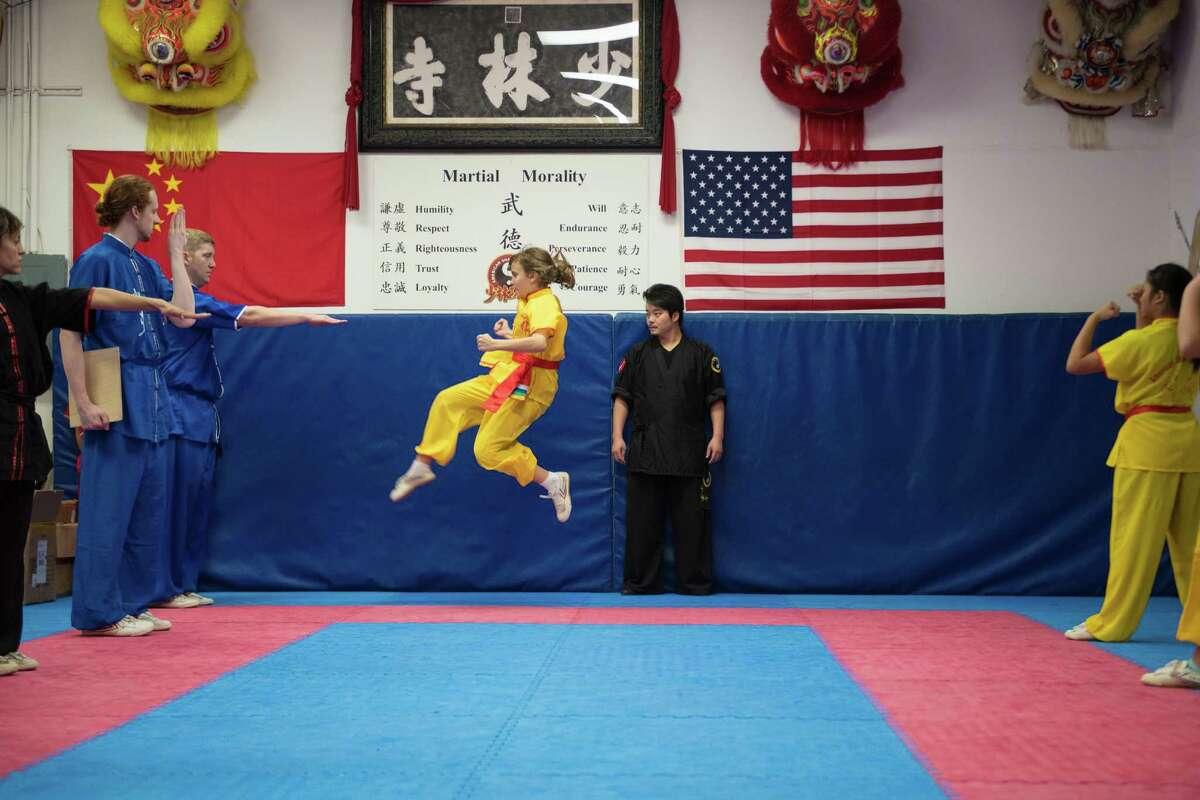 Shi Yan Feng, master at the American Shaolin Kung Fu school, presiding over rank advancement on Saturday December 17, 2016