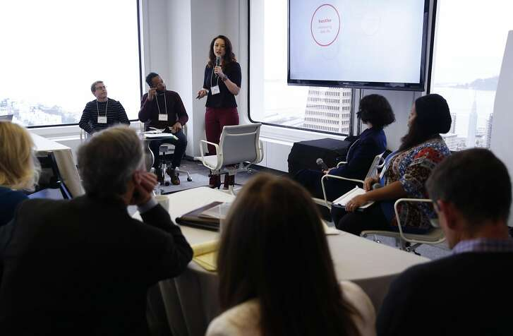 Eri Gentry moderates a panel discussion with young entrepreneurs at a conference for self-employed entrepreneurs and on-demand workers in San Francisco, Calif. on Wednesday, Jan. 18, 2017.