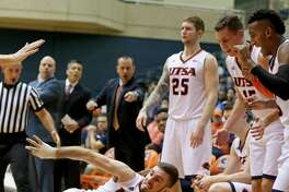 UTSA's Austin Karrer chases after a loose ball during second half action against UTEP on Jan. 1, 2017 at the Convocation Center.
