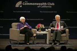 Federal reserve chair Janet Yellen (left) is asked questions from dean Ed Wasserman (right) from University of California Berkeley Journalism school at the Commonwealth club at Herbst Theatre on Wednesday, January 18, 2017, as in San Francisco, Calif.