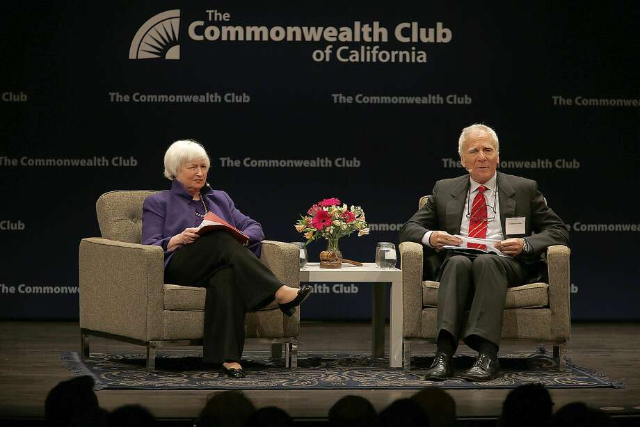 Federal Reserve Chairwoman Janet Yellen talks with Ed Wasserman, dean of UC Berkeley's journalism school, at the Commonwealth Club event. Photo: Liz Hafalia, The Chronicle
