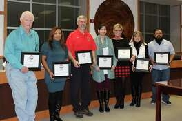 January is School Board Appreciation Month. In honor of the men and women who serve Cleveland ISD, trustees were recognized during the Jan. 17 board meeting. Pictured left to right are Ronnie Lewis, Sharica Lewis, Chris Wood, Christina Purkerson, Kelly Jenkel-Axton, Tammy Tullos and Aaron Montesnieto.
