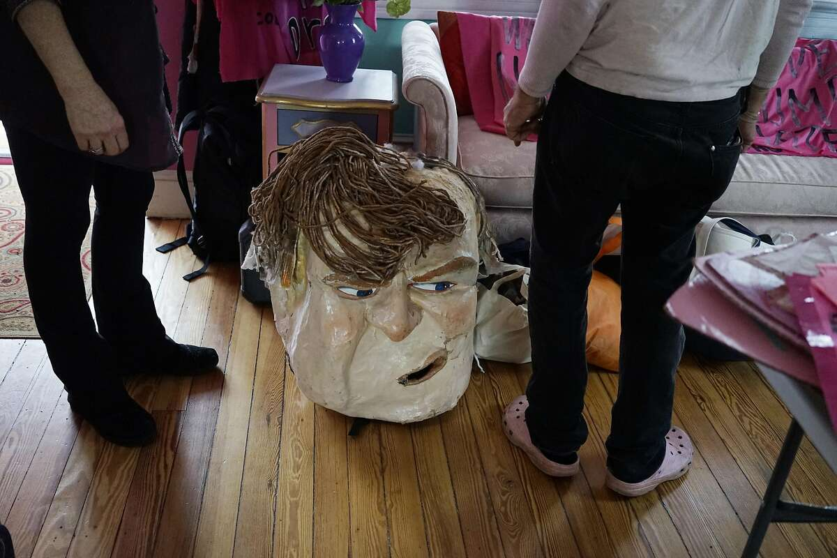 Two days before the Trump inauguration, a Donald Trump mask waits for its day of action at the Code Pink House in Washington D.C. office on Wednesday January 18, 2017.