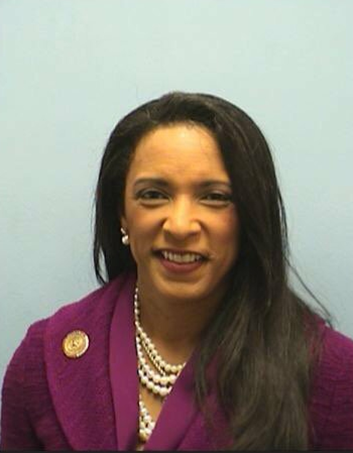 State Rep. Dawnna Dukes, D-Austin, is pictured after being booked on corruption charges in Travis County.