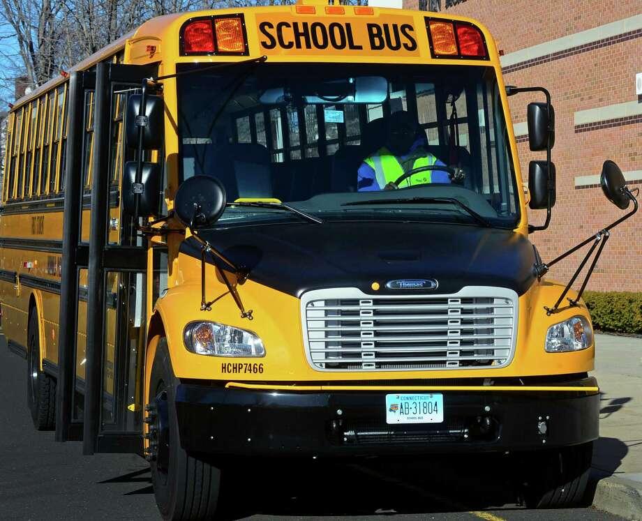 Norwalk school bus on January, 4, 2016 Photo: Erik Trautmann, Hearst Connecticut Media / Norwalk Hour