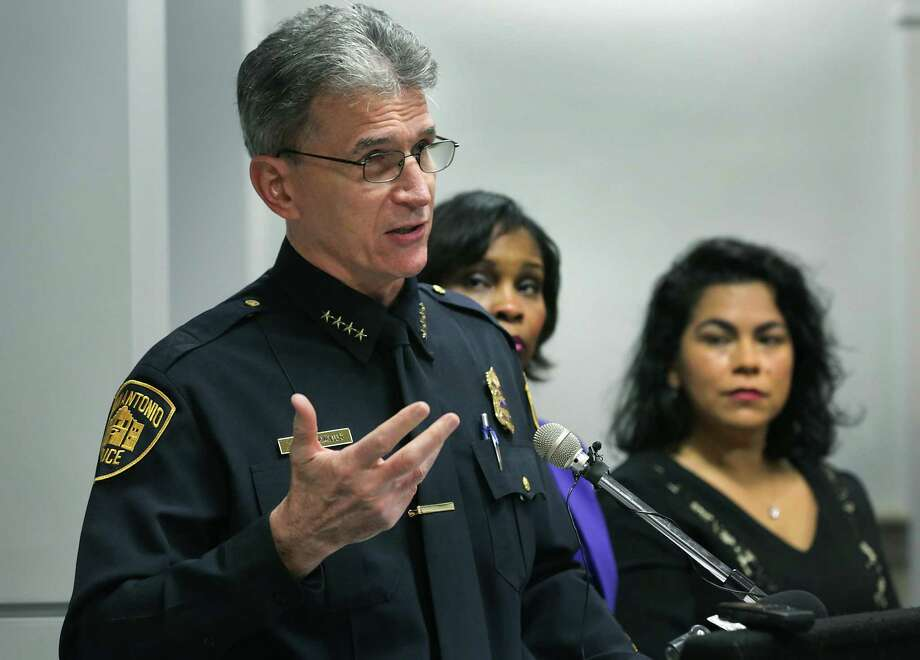 San Antonio Police Chief William McManus addresses the media on Wednesday before presenting City Council's Criminal Justice, Public Safety and Services subcommittee about a plan to address last year's uptick in violent crime. Council member Rebecca Viagran, right, and Mayor Ivy Taylor, center, also spoke. Photo: Bob Owen /San Antonio Express-News / ©2017 San Antonio Express-News