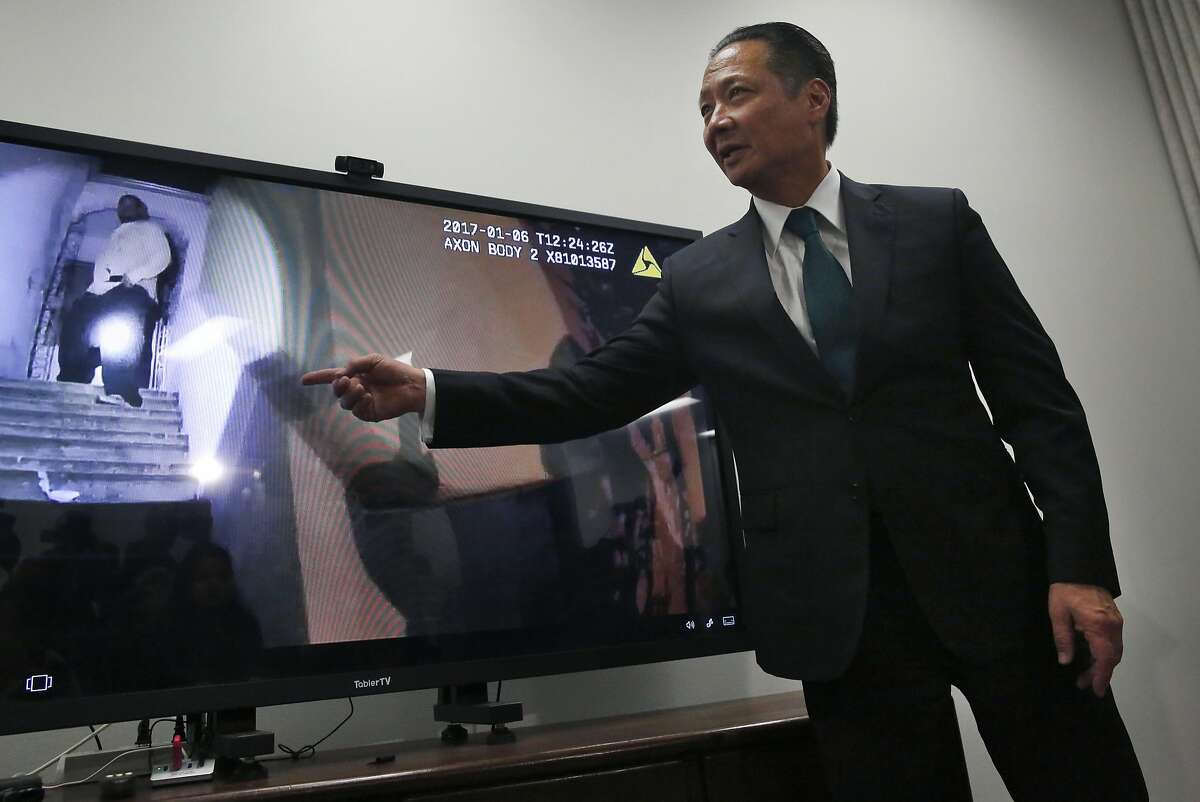 SF Public Defender Jeff Adachi points out a slow-motion version of the body camera footage during a press conference wherein body camera footage of an officer involved shooting was released at the San Francisco Public Defender's office Jan. 18, 2017 in San Francisco, Calif. The non-fatal shooting, which occurred in Ocean View earlier this month, involved a mentally-ill man who was shot by a police officer who, along with his partner who was also on scene, offered statements that conflict with the body camera footage.