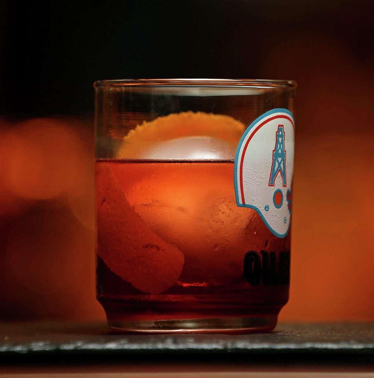 The Boulevardier cocktail (bourbon, Aperol, Carpano Antica) is served on tap at Bayou & Bottle in the Four Seasons Hotel Houston opening Jan. 21. The bar serves its cocktails in assorted vintage glassware.