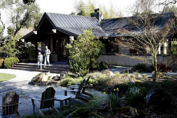 The beautiful grounds of Arista Winery feature waterfalls and picnic areas. Tasting rooms in the Healdsburg, Sonoma County, area. (By Brant Ward/San Francisco Chronicle)