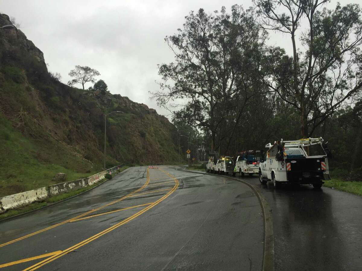 San Francisco public works crews shut down O'Shaughnessy Boulevard, between Malta Drive and Del Vale Avenue, Wednesday to stabilize a cliff that has been eroding in recent rain storm.