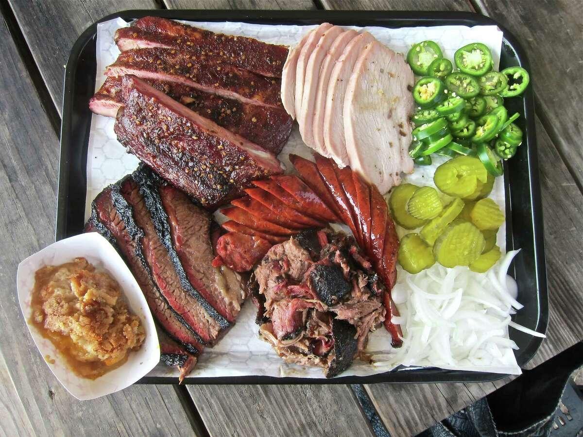 Pork ribs, turkey, sausage, pulled pork, brisket and cobbler at CorkScrew BBQ