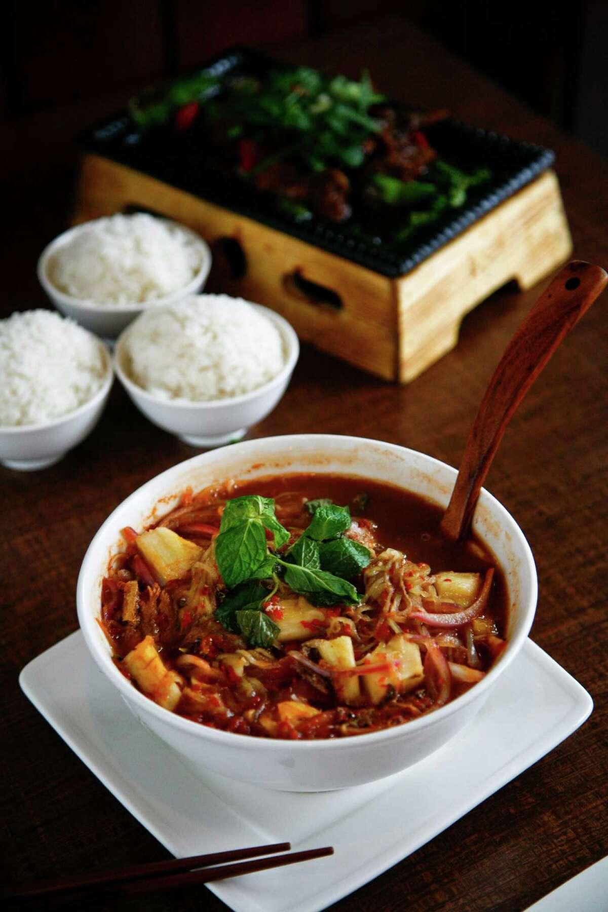 Penang Assam Laksa noodle soup at Banana Leaf Malaysian Cuisine