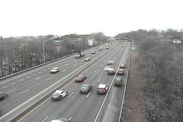 A traffic camera on Interstate-95 caught the end of a chase that began in downtown Stamford early Wednesday afternoon.