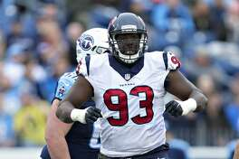 NASHVILLE, TN - JANUARY 1:  Joel Heath #93 of the Houston Texans celebrates with a dance after sacking the quarterback during a game against the Tennessee Titans at Nissan Stadium on January 1, 2017 in Nashville, Tennessee.  The Titans defeated the Texans 24-17.  (Photo by Wesley Hitt/Getty Images)