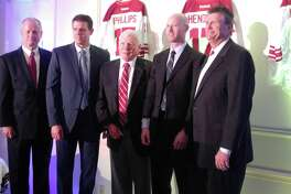 Three ECHL alumni were inducted into the ECHL Hall of Fame on Wednesday at the Fort William Henry Hotel in Lake George. From left: ECHL commissioner Brian McKenna, inductee Rick Kowalsky (former player and coach), ECHL commissioner emeritus Patrick Kelly, inductee Brad Phillips (retired linesman) and inductee Paul Hendricks (ECHL general counsel). (Pete Dougherty / Times Union)
