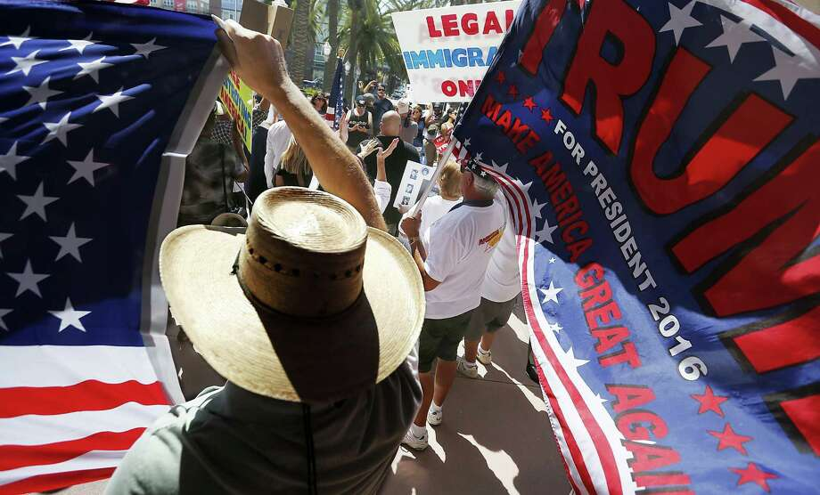 Donald Trump's Latino supporters rally in August outside Anaheim, Calif., City Hall. Photo: Luis Sinco / TNS / Los Angeles Times