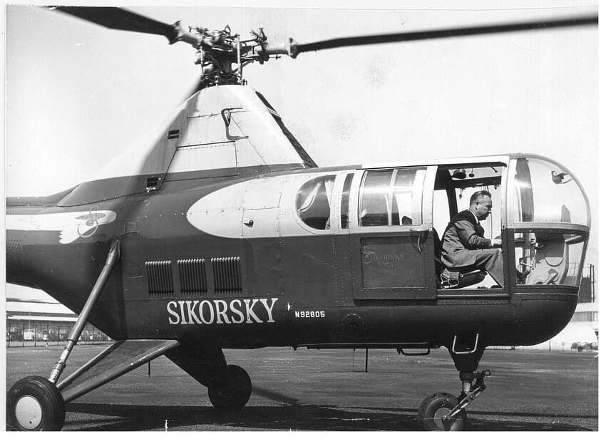 Helicopter PRINT ARCHIVE: Igor Sikorsky at the controls of one his helicopters April 19, 1953.