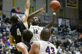 University at Albany's Devonte Campbell goes up for a shot during a basketball game against New Hampshire at SEFCU Arena on Wednesday, Jan. 11, 2017 in Albany, N.Y. (Lori Van Buren / Times Union)