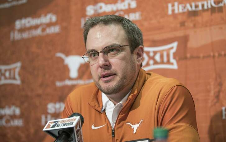"""Texas head coach Tom Herman speaks during a press conference on Jan 5, 2017 in Austin. Herman vigorously defended hiring former Ohio State assistant Tim Beck to be his offensive coordinator on Thursday, saying he was """"surprised"""" by some of the social media criticism from Longhorns and Ohio State fans."""