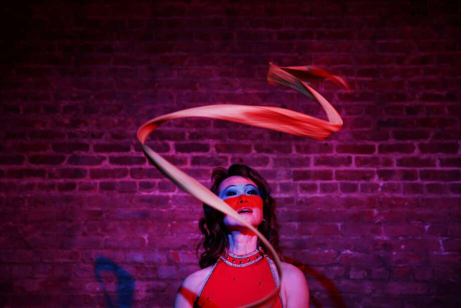 Jade slings her ribbons for a portrait at the Exit Theatre on Wednesday, Jan. 18, 2017 in San Francisco, Calif. Jade is performing at the second-annual Fog City Magic Fest taking place at the theatre Jan. 25-28. Photo: Santiago Mejia, The Chronicle