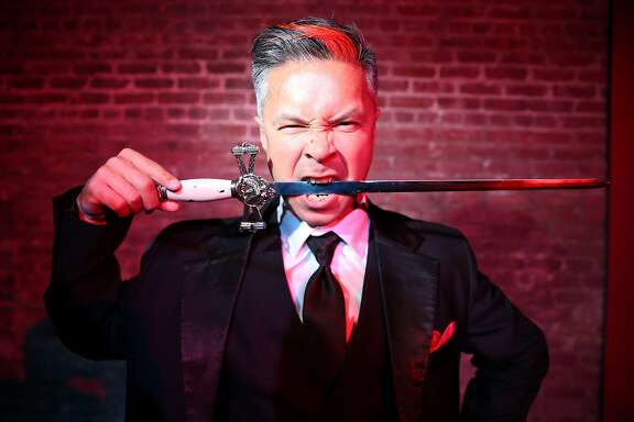 Lynx the Animator bites down on a sword for a portrait at the Exit Theatre on Wednesday, Jan. 18, 2017 in San Francisco, Calif. He is performing at the second-annual Fog City Magic Fest taking place at the theatre Jan. 25-28.