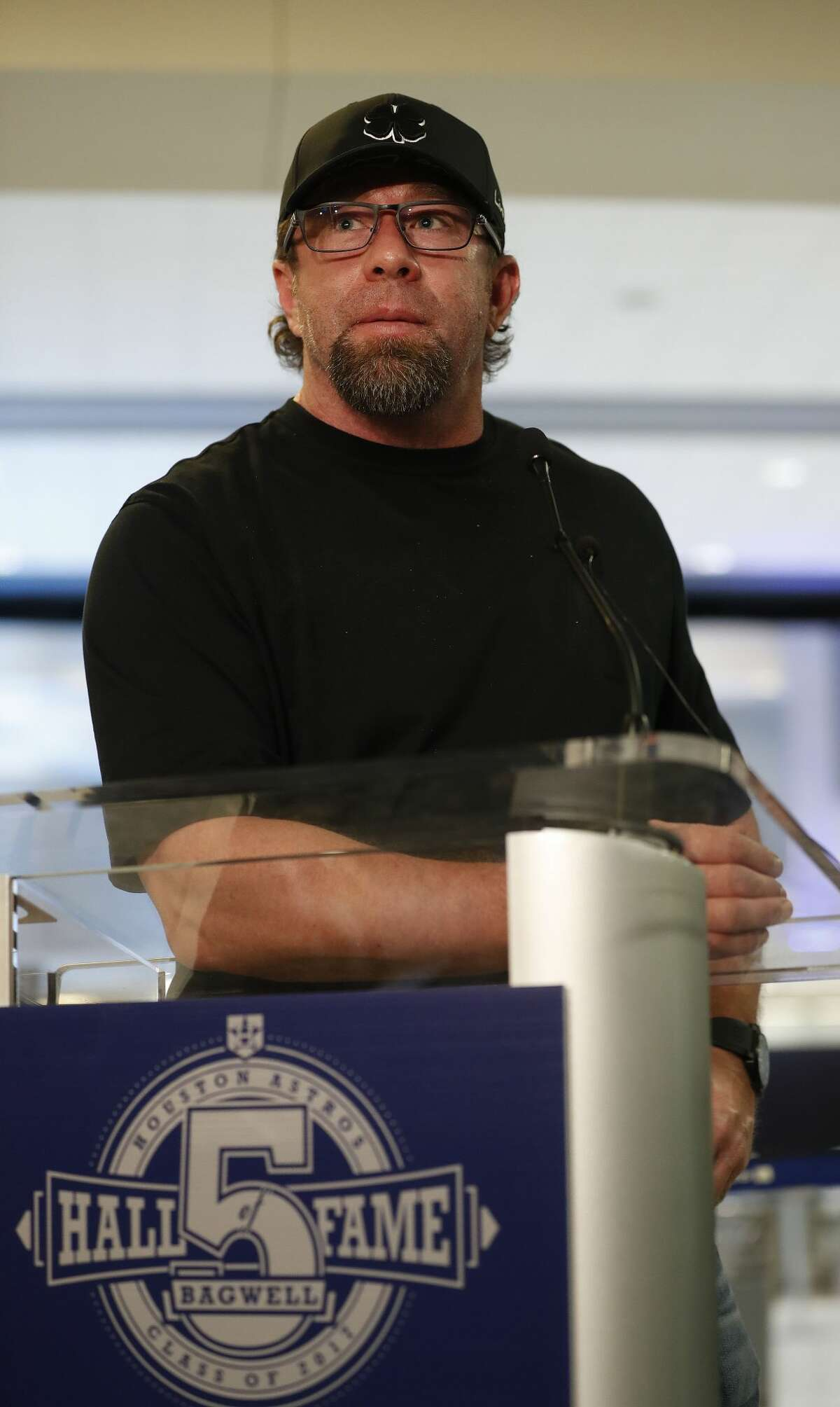 Former Houston Astros first baseman Jeff Bagwell, speaks to the media at Bush IAH, Wednesday January 18, 2017, after it was announced that he would be entering the 2017 Baseball Hall of Fame. ( Karen Warren / Houston Chronicle )