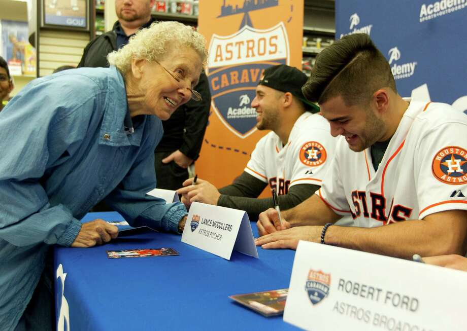 Margaret Anderson, left, shares a laugh with Houston Astros pitcher Lance McCullers during an autograph session at Academy Sports & Outdoors as part of the Astros' annual offseason caravan trip across Texas Wednesday, Jan. 18, 2017, in The Woodlands. Photo: Jason Fochtman, Staff Photographer / Houston Chronicle