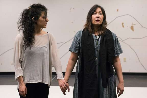 """Nadine Malouf (left) and Kate Rigg (right) at ACT's rehearsal studio for """"A Thousand Splendid Suns."""""""