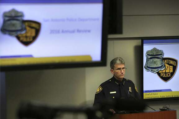 San Antonio Police Chief William McManus announces the formation of a Violent Crime Task Force during a City Council committee meeting on Wednesday, Jan. 18, 2017. McManus announced Tuesday that violent crime, which includes homicides, rape, robberies and aggravated assault, has decreased 23 percent as of mid-April — due in part to the work of the task force.