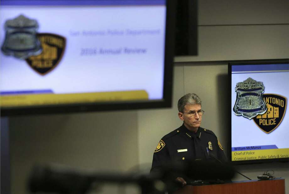 San Antonio Police Chief William McManus addresses the City Council's Criminal Justice, Public Safety and Services subcommittee about last year's uptick in violent crime on Jan. 18, 2017. Photo: Bob Owen /San Antonio Express-News / ©2017 San Antonio Express-News