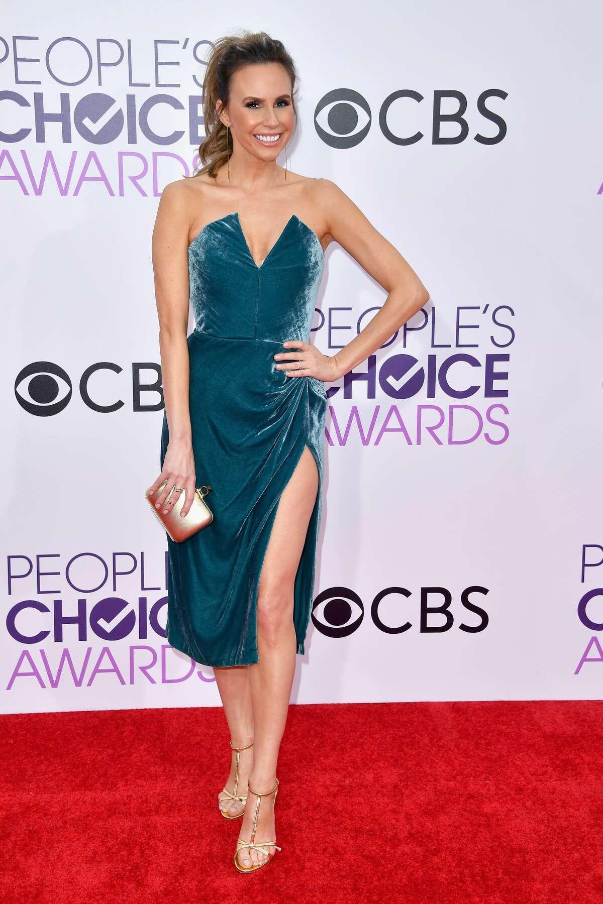Best: TV personality Keltie Knight wears a trendy dress in a beautiful shade of blue. Nice slit too.