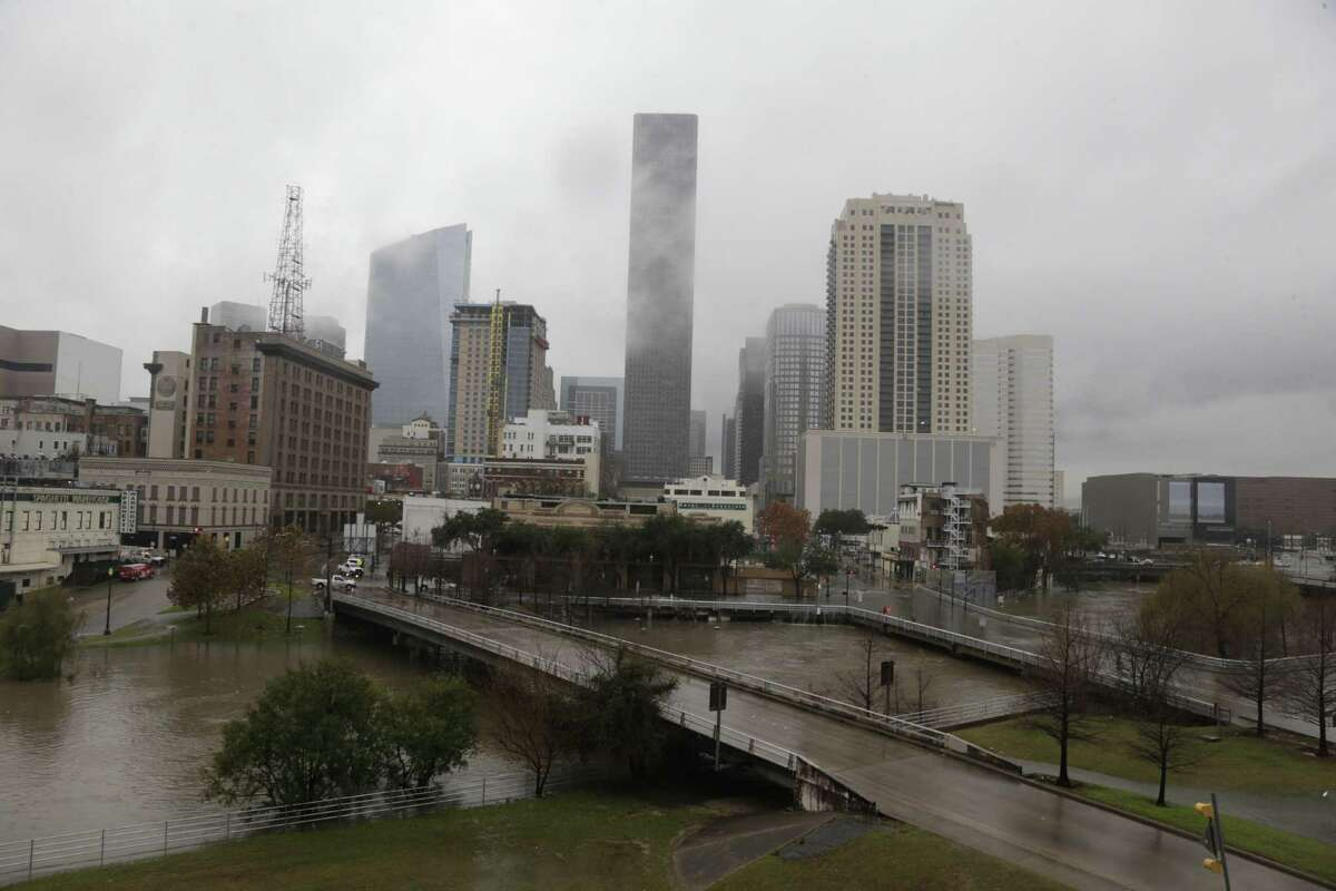 Heavy rains caused problems for roadways and waterways around downtown Wednesday.